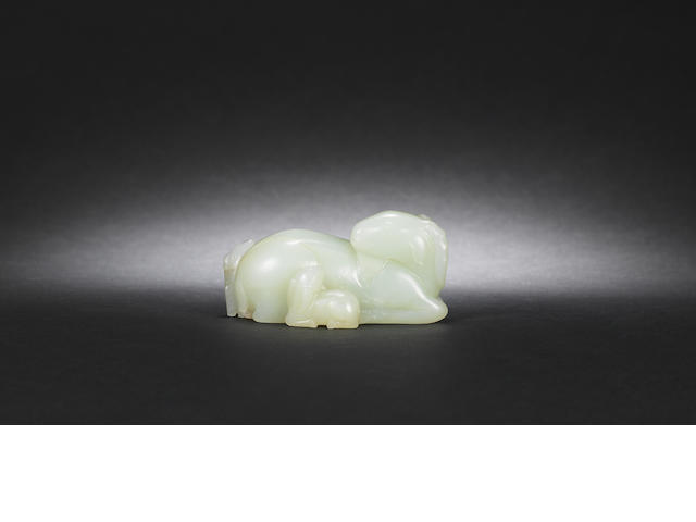 A pale green jade ram Mid Qing dynasty