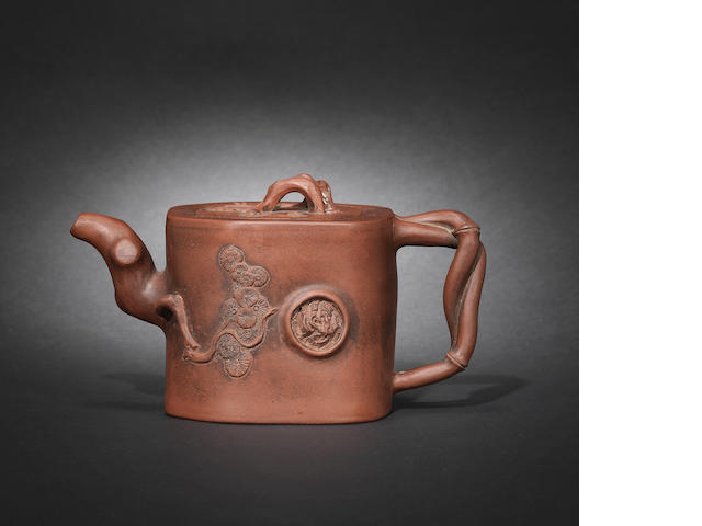 A Yixing 'prunus trunk' teapot