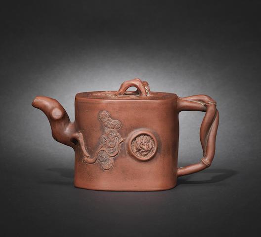 A Yixing 'prunus trunk' teapot