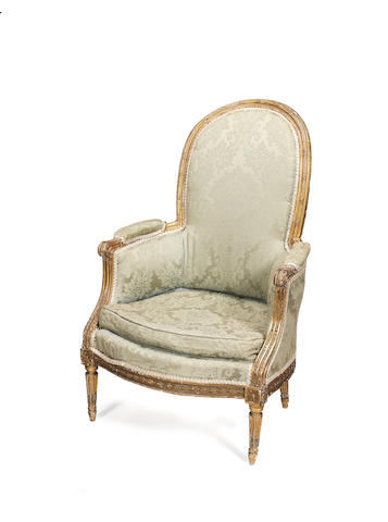 A French giltwood bergère