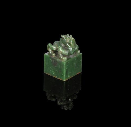 An Imperial spinach green jade 'Bazhen Maonian' seal Qianlong