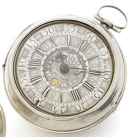 Louis Rival, London. A late 18th century silver pair case calendar pocket watchCirca 1780