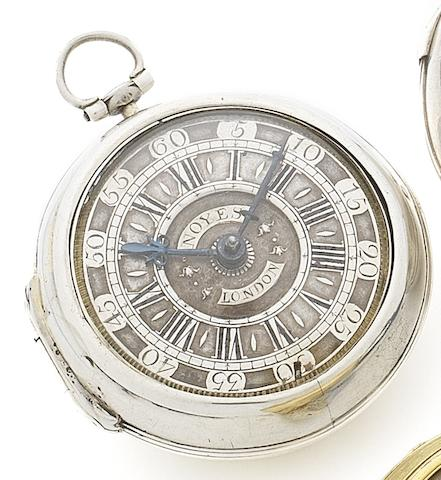 William Noyes, London. An early 18th century silver pair case pocket watch Circa 1710