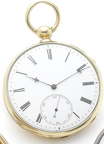 Swiss. An early 19th century 18ct gold open face quarter repeating key wind pocket watchCirca 1820