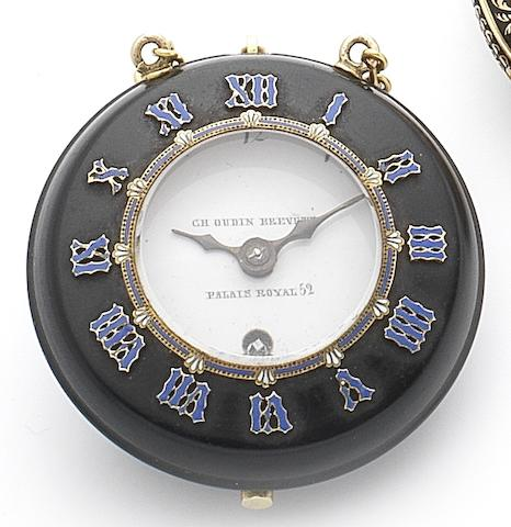 Charles Oudin, Palais Royale. A fine and rare mid 19th century vulcanised rubber, gilt metal and enamel pocket watchNo. 5583, Circa 1850