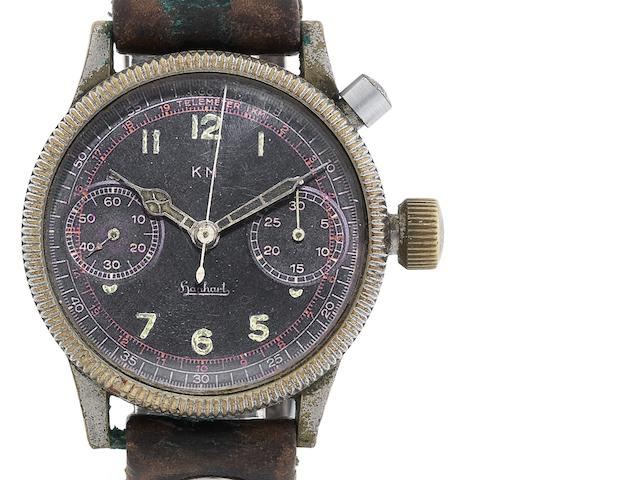 Hanhart. A rare nickel plated single button chronograph wristwatch made for the German Kriegsmarine Serial No.505, Made and issued circa 1940