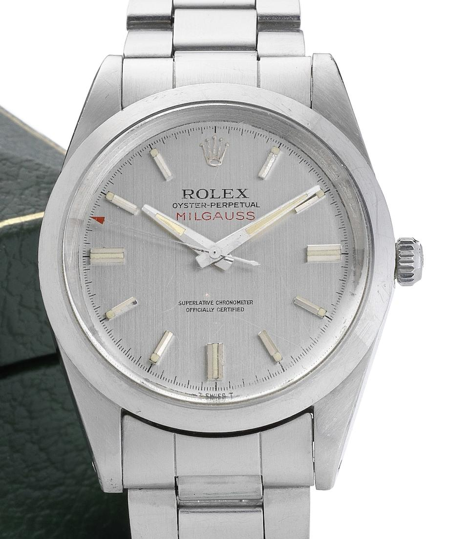 Rolex. A fine and rare stainless steel centre seconds bracelet watch together with fitted box, punched certificate, original receipt and swing tagMilgauss, Ref:1019, Serial No.2457386, Sold in Oman 22nd March 1975