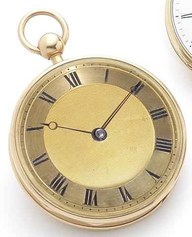 Swiss. An early 19th century gold open face quarter repeating key wind pocket watchCirca 1830