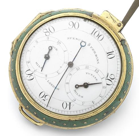 Spencer & Perkins, London. A gilt metal and shagreen covered open face pedometerCirca 1780