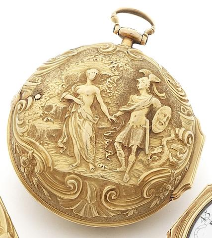 J.Brown. A mid 18th century 22ct gold repoussé case key wind pocket watchNumbered 269, Circa 1760