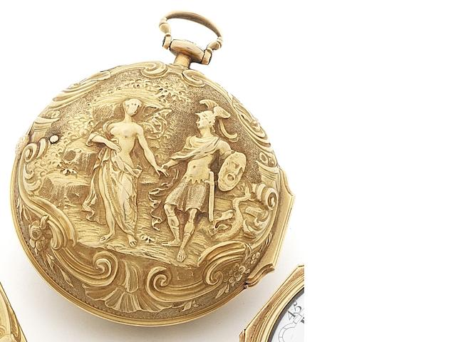 J.Brown. A mid 18th century 22ct gold repoussé case key wind pocket watch Numbered 269, Circa 1760