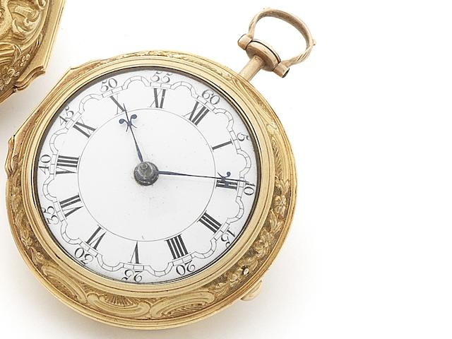 Wm. Crayton. A late 19th century 22ct gold open face key wind pair case repoussé pocket watch Number 9514, Inner case London Hallmark for 1772
