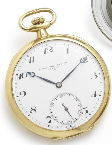Patek Philippe. A fine 18ct gold open face keyless wind pocket watchCase No.290190, Movement No.807368, Circa 1925