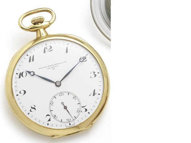 Patek Philippe. A fine 18ct gold open face keyless wind pocket watch Case No.290190, Movement No.807368, Circa 1925