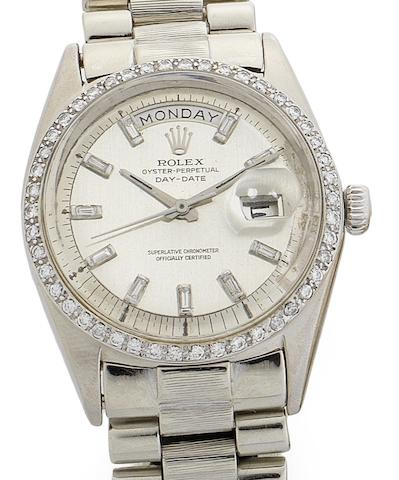Rolex. An 18ct white gold and later diamond set automatic calendar bracelet watchDay-Date, Ref:1803, Serial No.170***, Circa 1960