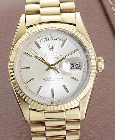 Rolex. An 18ct gold automatic calendar bracelet watchDay-Date, Ref:1803, Serial No.147****, Circa 1960
