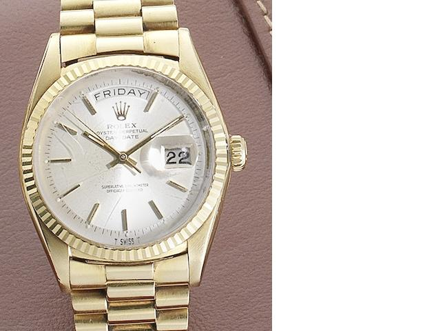 Rolex. An 18ct gold automatic calendar bracelet watch Day-Date, Ref:1803, Serial No.147****, Circa 1960