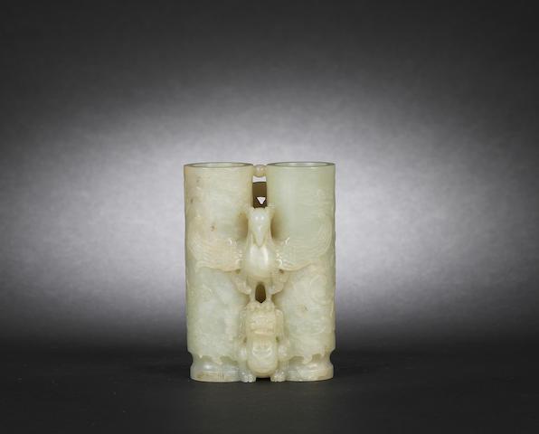 A rare white jade 'champion' vase Qianlong