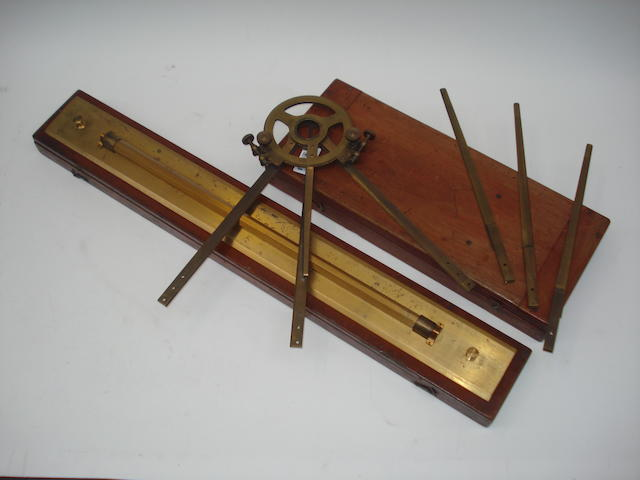 A large Stanley parallel rule and a Hughes & Son circular protractor,  English,  early 20th century,  (2)