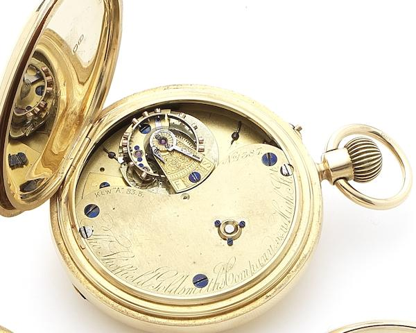 The Sheffield Goldsmiths Company. An early 20th century 18ct gold half hunter pocket watch with 'Kew A' Karrusel movementChester Hallmark for 1902