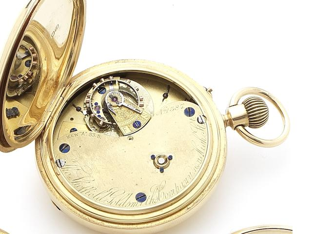 The Sheffield Goldsmiths Company. An early 20th century 18ct gold half hunter pocket watch with 'Kew A' Karrusel movement Chester Hallmark for 1902