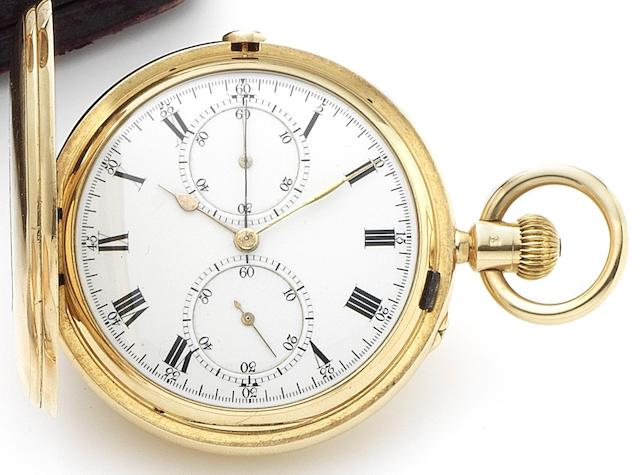 Daniel Myers, London. A fine 18ct gold full hunter chronograph pocket watch in Frederick Thoms case Movement No.3019, London Hallmark for 1901