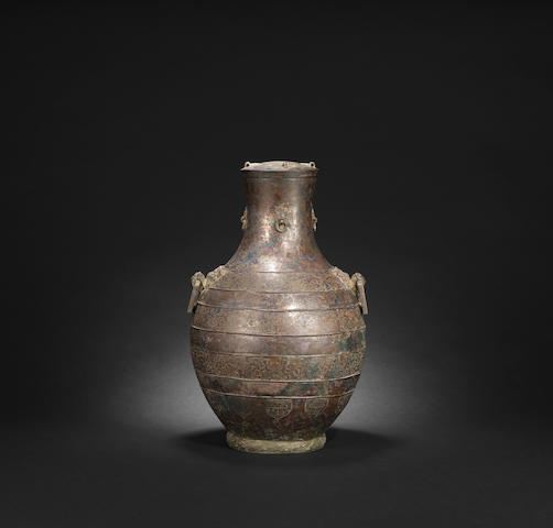 An archaic bronze hu vessel  Warring States period