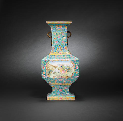 A magnificent Imperial enamelled 'European subject' vase Qianlong seal mark and of the period