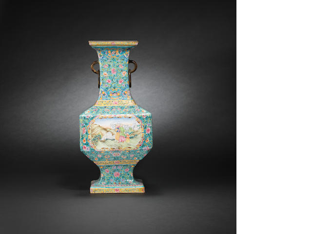 An Imperial enamelled 'European subject' vase Qianlong six-character mark and of the period
