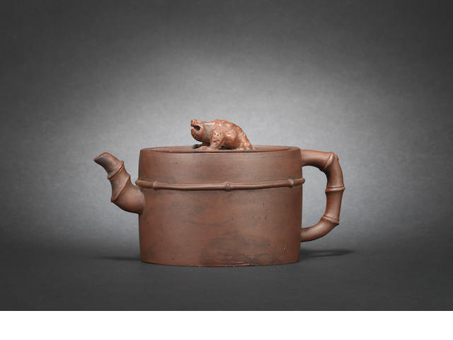 An Yixing stoneware teapot and cover, 18th century, signed Shao Wen?