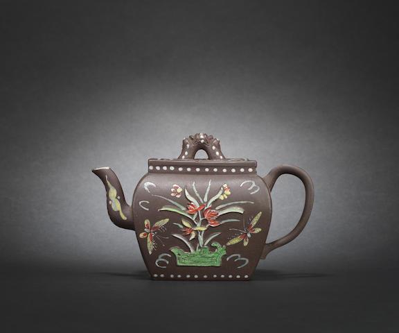A Dutch-decorated Yixing teapot and cover, c1710