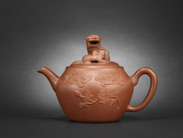A large Yixing stoneware 'lion dog' teapot and cover