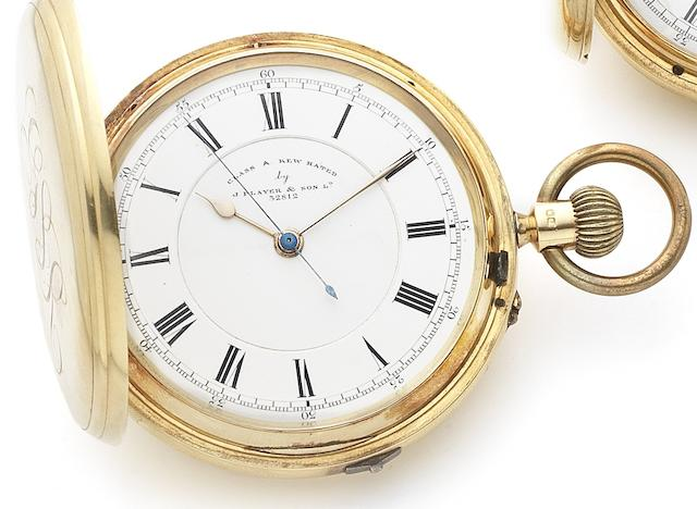 J. Player & Son Ltd. An early 20th century 18ct gold keyless wind full hunter pocket watch with Kew A rating of 81.3 No.32812, Chester Hallmark for 1903