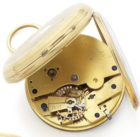 Patent Union. A fine and rare 18ct gold key wind open face pocket watch with Robin escapementNumbered 2222, Circa 1795