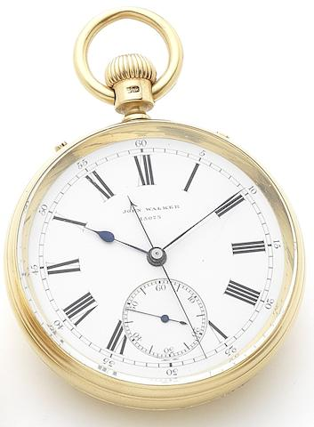 John Walker. An 18ct gold keyless wind open face jump centre seconds pocket watch Patent No.15073, London Hallmark for 1875