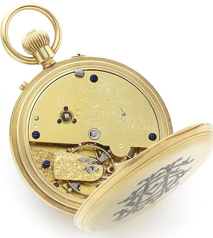 Adams. A late 19th century 18ct gold keyless wind open face chronometer pocket watch London Hallmark for 1875