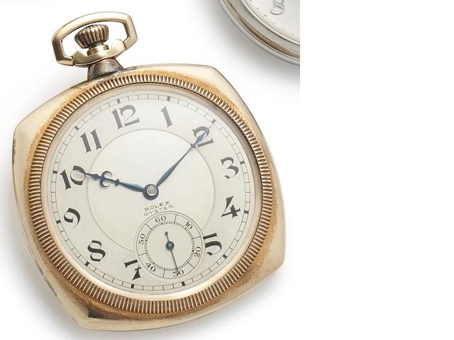 Rolex. A fine 9ct gold keyless wind open face pocket watch with early waterproof Oyster case Case No.2000182, Movement No.162498, Circa 1940