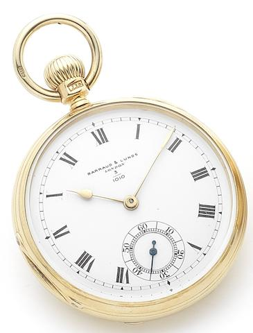 Barraud & Lunds. A fine 18ct gold stem key wind open face pocket watch Numbered 3/1010, London Hallmark for 1874