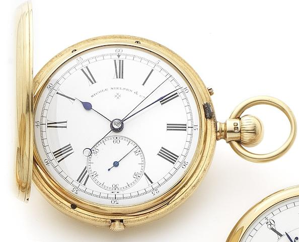 Nicole Nielson & Co. An 18ct gold keyless wind full hunter chronograph pocket watchNumbered 1198, London Hallmark for 1882