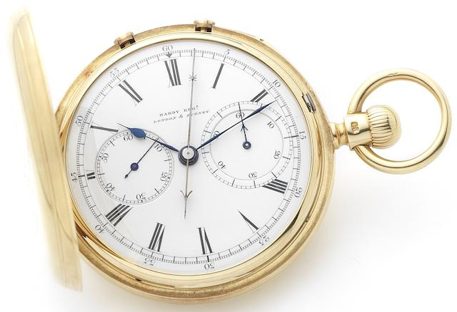 Hardy Bros, London and Sydney. A very fine and rare 18ct gold open face keyless wind split second pocket watchNo.10071, Case made by Emil Nielsen, London Hallmark for 1888
