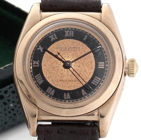 Rolex. A fine and rare 9ct rose gold automatic centre seconds bubble back wristwatch Oyster Perpetual, Ref:4537, Case No.3131, Movement No.94634, Circa 1936