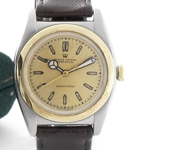 Rolex. A fine stainless steel and gold automatic centre seconds wristwatch Oyster Perpetual, Ref:3133, Case No.57037, Circa 1940