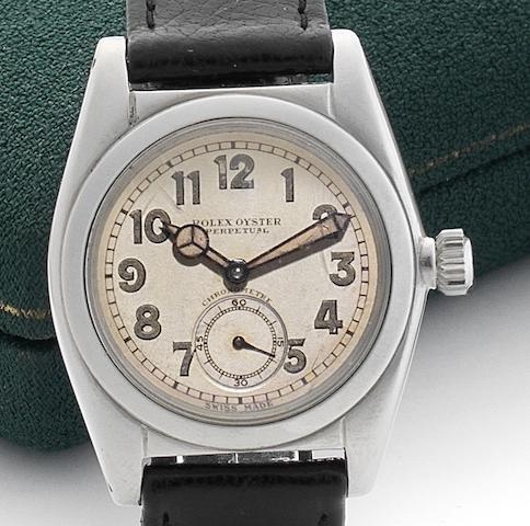 Rolex. A stainless steel automatic wristwatch together with fitted Rolex box Case No.156394/2764, Movement No.94647, Circa 1938