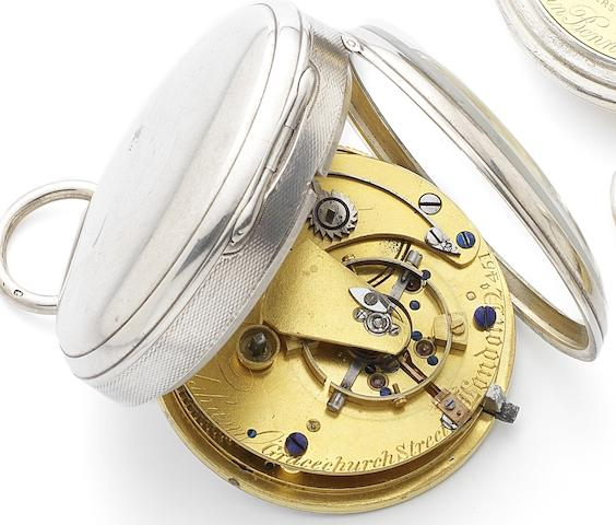 Frodsham. Gracechurch Street, London. An early 19th century silver open face key wind chronometer pocket watchNumbered 451, London Hallmark for 1827