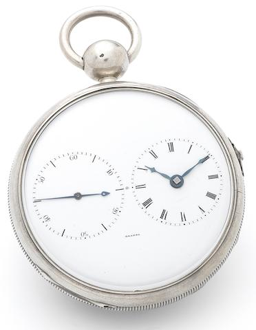 Brosse. A fine and rare silver open face key wind chronometer pocket watch with oversized balance wheel, together with silver keyNumbered 13, Circa 1825 (2)