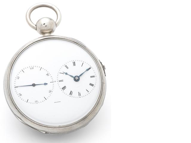 Brosse. A fine and rare silver open face key wind chronometer pocket watch with oversized balance wheel, together with silver key Numbered 13, Circa 1825 (2)