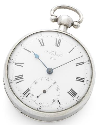 John Roger Arnold. A very fine and rare silver open face free sprung pocket chronometer Case and dial numbered 2021, London Hallmark for 1807