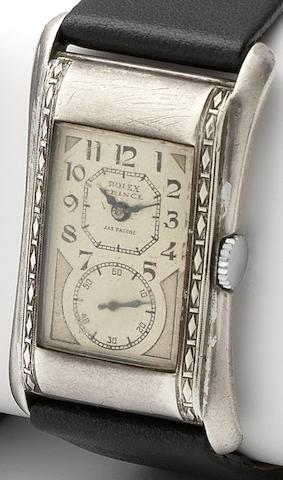 Rolex. A rare silver cased manual wind rectangular wristwatchPrince, Ref:971, Case No.73798, Retailed by James Pascoe, Circa 1930