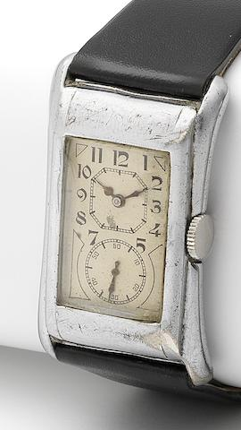Rolex. A rare silver manual wind rectangular wristwatchPrince, Ref:971, Case No.74099, Glasgow Import mark for 1929