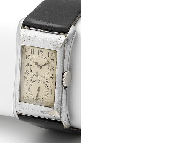 Rolex. A rare silver manual wind rectangular wristwatch Prince, Ref:971, Case No.74099, Glasgow Import mark for 1929